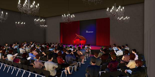 This image shows the theater that would be part of The Contemporary. It could hold 240 people seated or 400 standing.
