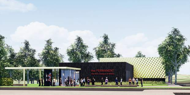 This image shows the exterior, norheast view of the first phase of a performing arts center at Willits. The initial phase will be named The Contemporary.