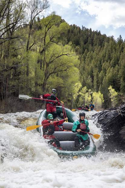 Elk Mountain Expeditions guide Tom Wills dropping Slaughterhouse Falls on the Roaring Fork River on May 16.