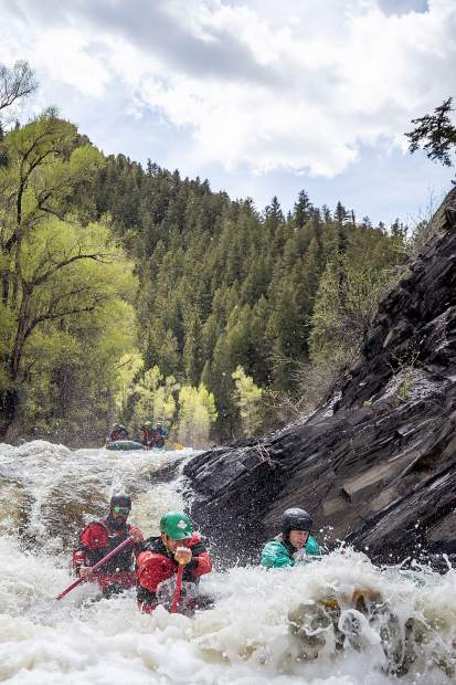 Elk Mountain Expeditions guide Tom Wills after dropping Slaughterhouse Falls on the Roaring Fork River on May 16.