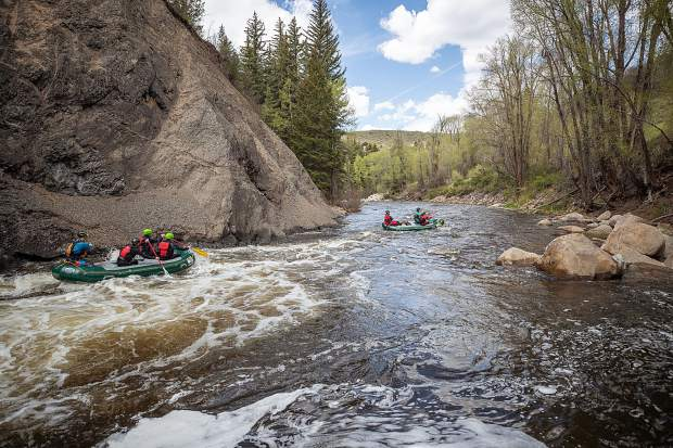 Elk Mountain Expeditions rafts after descending Slaughterhouse Falls on May 16.