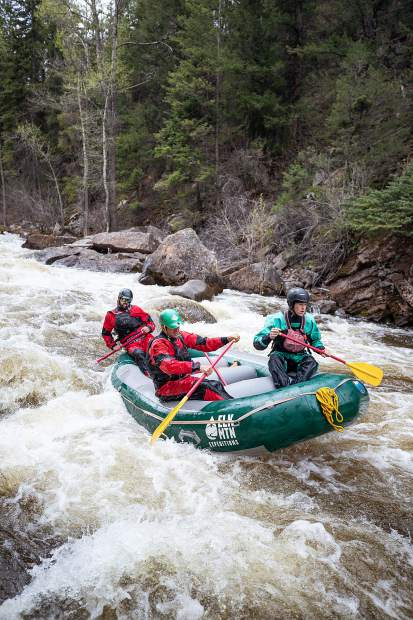 Elk Mountain Expeditions guide Tom Wills guiding through entrance exam rapid on the Slaughterhouse Falls section on the Roaring Fork River on May 16.