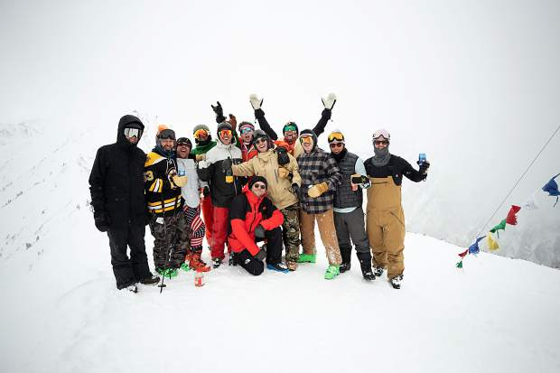 A group at the top of Highland Bowl for closing weekend party on April 14, 2019.