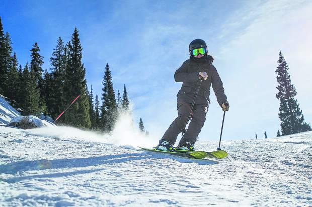 Snowmass Ski Patroller Elizabeth Paradis skis down a run on Snowmass Mountain on her day off on Dec. 20, 2018.