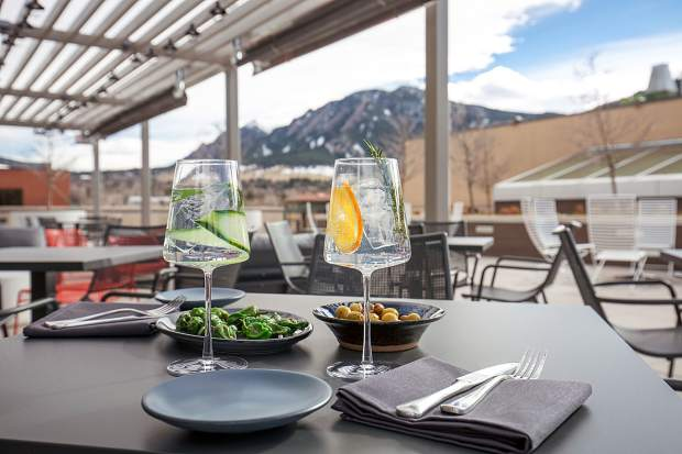 The views from the patio at Corrida show the best of Boulder and the Front Range.