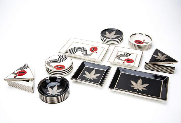 Jonathan Adler x Higher Standards capsule collection includes ash trays, catchalls, coasters and stash boxes in two motifs: Hashish and Smolder.
