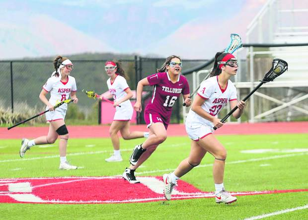 Aspen High School senior Kate Citron, right, brings the ball upfield in the girls lacrosse game against Telluride on Saturday, May 4, 2019, on the AHS turf. (Photo by Austin Colbert/The Aspen Times).