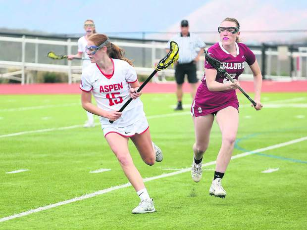 Aspen High School girls lacrosse against Telluride on Saturday, May 4, 2019, on the AHS turf. (Photo by Austin Colbert/The Aspen Times).