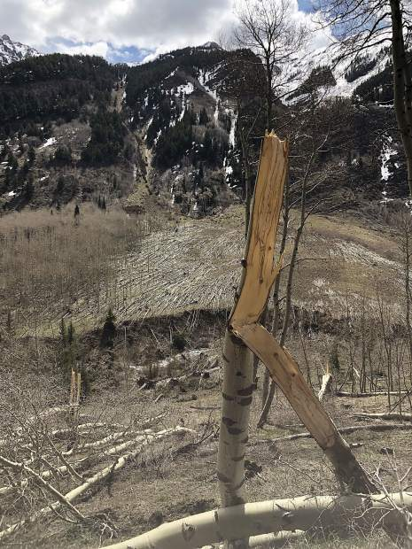 Avalanche debris along Maroon Creek Road that that came up and over the road.