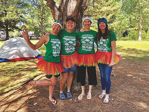 Team Mega-Sore-Ass dressed in tutus with matching horns (since removed) for all 18 hours of the race. Alena Gouda, Becky Johnson, Wendy Mortimer and Jill Goudie.