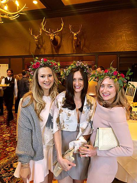 Flower crowned moms Kristin Dittmar Doremus, Alison Wente and Carlie Umbarger.