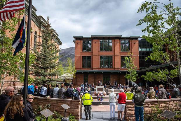 A large crowd gathered Monday at the new Veterans Memorial Park in Aspen to honor the military. The park, between the Pitkin County Courthouse and new administration building, was remodeled and  reopened in November.