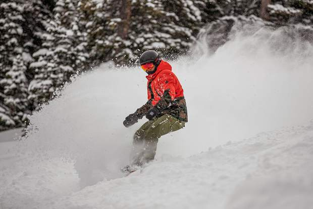 Australian Dane Digger snowboards down a run on Aspen Mountain on Feb. 4, 2019. 4