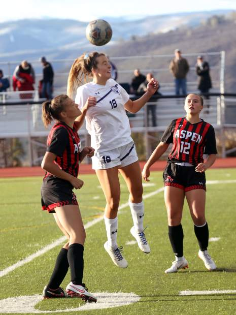 Aspen High School girls soccer against Basalt on Friday, May 3, 2019, on the AHS turf. (Photo by Austin Colbert/The Aspen Times).