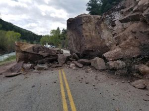 Rockfall keeps Highway 133 to one lane south of Carbondale in Crystal Valley