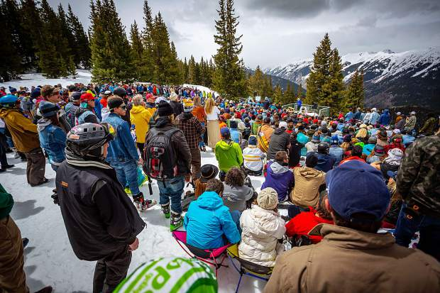 A large crowd gathers Monday morning on Richmond Ridge at the top of Aspen Mountain to celebrate the life of local Sam Coffey.