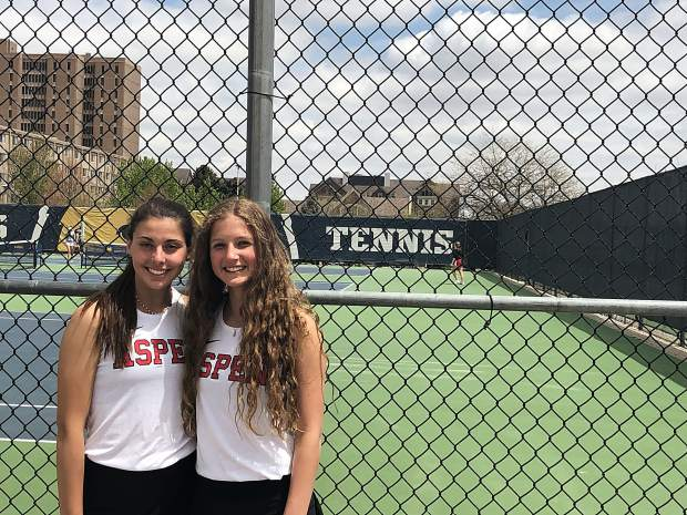 Aspen's No. 3 doubles team of Virginia Tassi, left, and Quinn Ramberg advanced to the Class 3A state semifinals after winning their first two matches on Friday in Greeley.