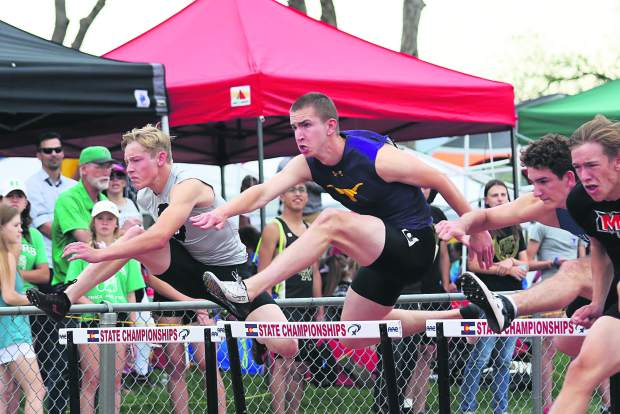 Basalt High School junior Ben Williams competes in the boys 110-meter hurdles prelim at the state track and field meet on Thursday, May 16, 2019, in Lakewood.