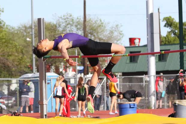 Basalt High School's Ryan Zheng competes in the high jump at the 3A Western Slope League track and field championships over the weekend in Grand Junction.