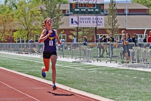 Basalt High School sophomore Sierra Bower competes in the 3A Western Slope League track and field championships over the weekend in Grand Junction. Bower broke the school record in both the mile and 2-mile races.