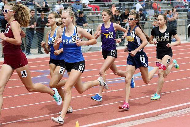 Basalt High School sophomore Sierra Bower competes in the girls 1,600-meter run finals on Saturday at the state track and field championships in Lakewood.