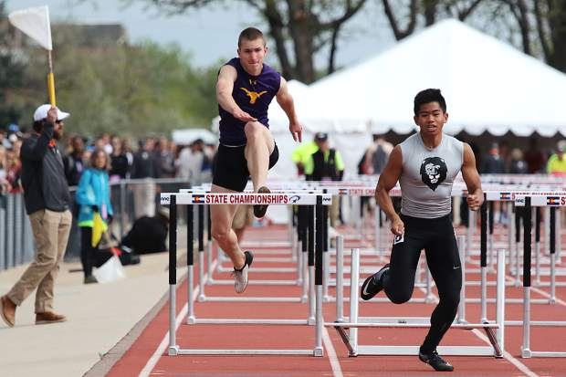 Basalt High School junior Ben Williams competes in the boys 110-meter hurdles finals on Saturday at the state track and field championships in Lakewood.