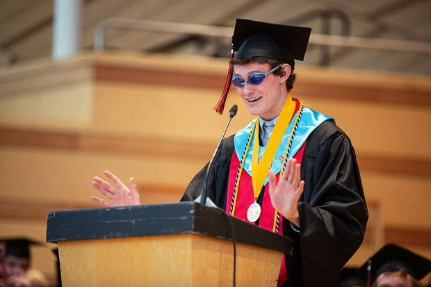 Charismatic valedictorian Cole Petersen delivers an entertaining and heartfelt address during Aspen High School's graduation Saturday at the Benedict Music Tent.