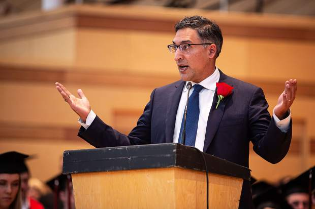 Commencement speaker Neal Katyal addresses the graduating class at Aspen High School's graduation Saturday.
