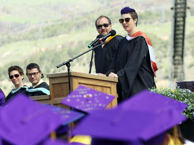 Teachers Erin Niebla, right, and Eric Vozick give the class address during the Basalt High School graduation ceremony on Saturday, June 1, 2019, on the BHS football field. (Photo by Austin Colbert/The Aspen Times)