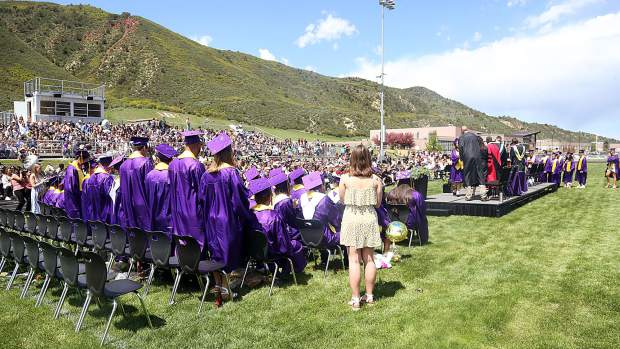 The Basalt High School graduation ceremony on Saturday, June 1, 2019, on the BHS football field. (Photo by Austin Colbert/The Aspen Times)