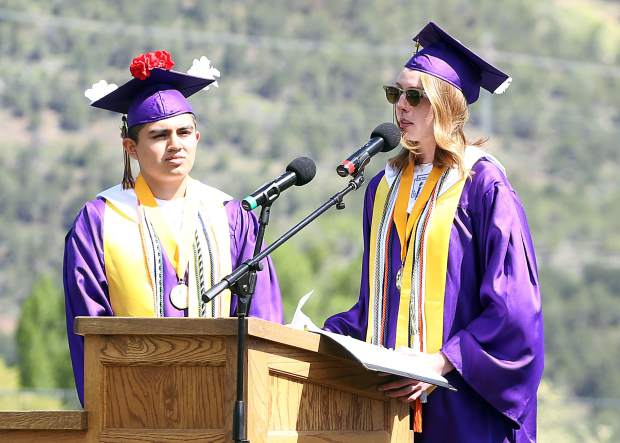 Co-Valedictorians Megan Maley, right, and Steven Garcia-Machuca gives speeches during the Basalt High School graduation ceremony on Saturday, June 1, 2019, on the BHS football field. (Photo by Austin Colbert/The Aspen Times)