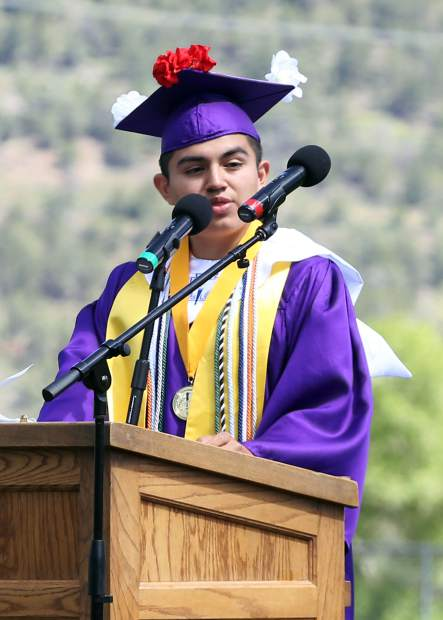 Co-Valedictorian Steven Garcia-Machuca gives a speech during the Basalt High School graduation ceremony on Saturday, June 1, 2019, on the BHS football field. (Photo by Austin Colbert/The Aspen Times)