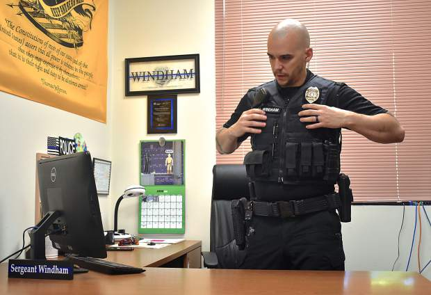 Carbondale Police Sgt. Robb Windham prepares for the night shift.