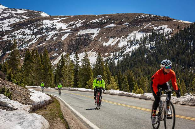 Cyclists descend the Aspen side of Independence Pass on day three of Ride the Rockies Tuesday.