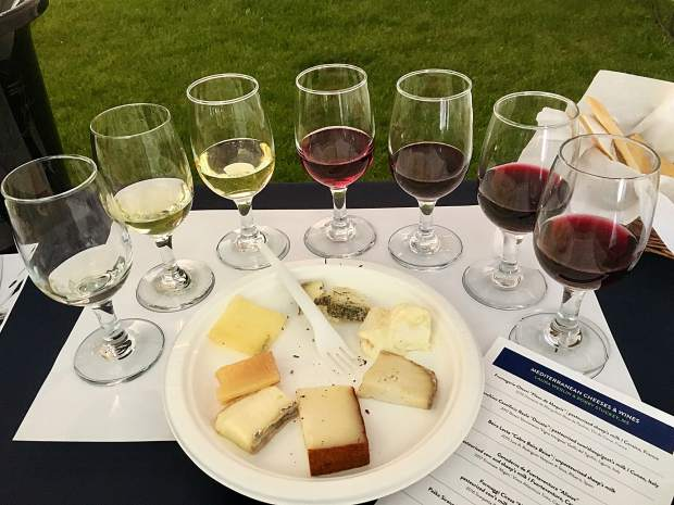 The selection of wine and Mediterranean cheese from the Bobby Stuckey & Laura Werlin seminar on Friday.