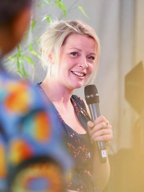 New York-based Canadian artist Bria Skonberg talks during a Jazz Aspen panel on Saturday, June 22, 2019, inside the VIP tent in Aspen. (Photo by Austin Colbert/The Aspen Times)