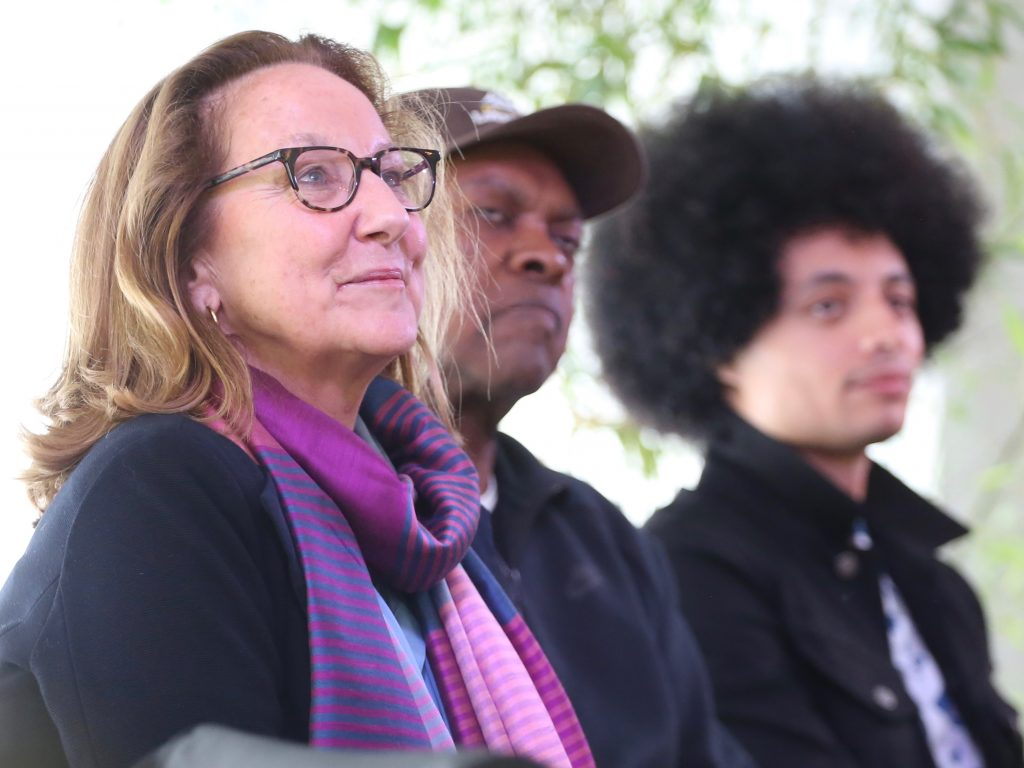 Peggy Clark, co-director of Aspen Ideas: Health, sits next to artists Booker T. Jones and Jose James during the Jazz Aspen Snowmass panel on Saturday, June 22, 2019, inside the VIP tent in Aspen. Clark co-moderated the special event alongside JAS president and CEO Jim Horowitz. (Photo by Austin Colbert/The Aspen Times)