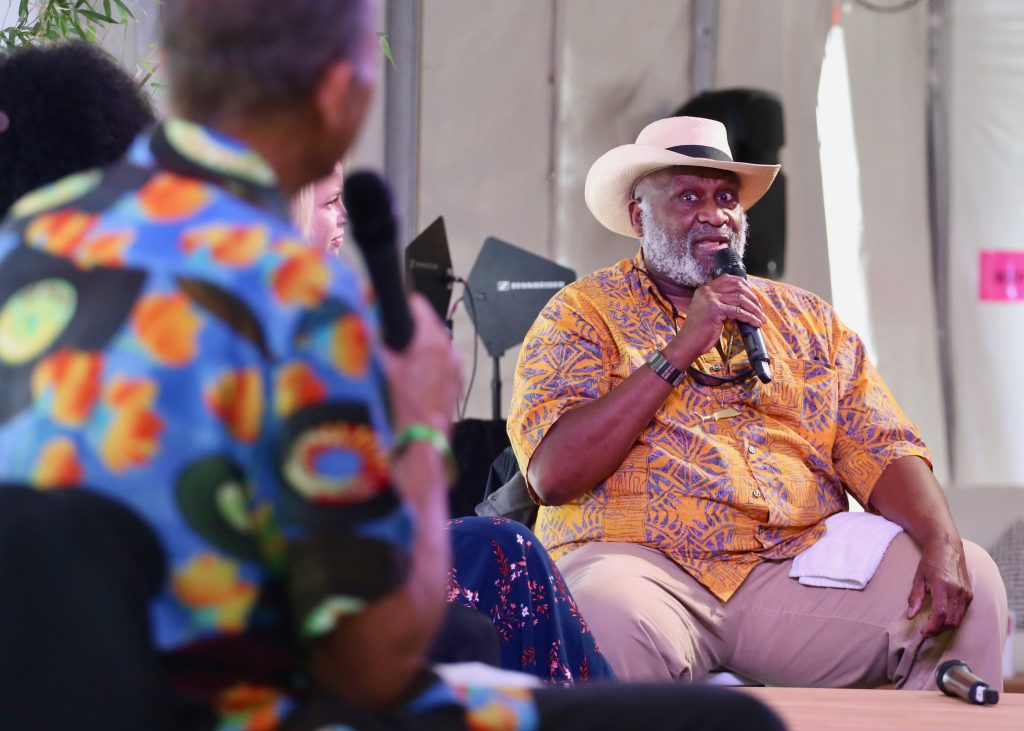 Blues legend Taj Mahal talks during a Jazz Aspen panel on Saturday, June 22, 2019, inside the VIP tent in Aspen. (Photo by Austin Colbert/The Aspen Times)