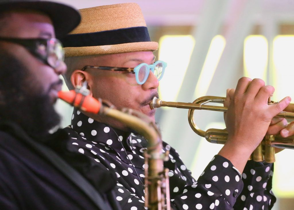 Etienne Charles performs Sunday, June 23, 2019, at the Aspen Art Museum. It was the final day of the new Jazz Aspen Snowmass June Experience. (Photo by Austin Colbert/The Aspen Times)