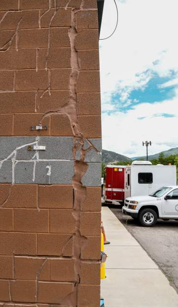 An example of foundation damage on an exterior wall at the Glenwood Springs Municipal Operations Center in West Glenwood.
