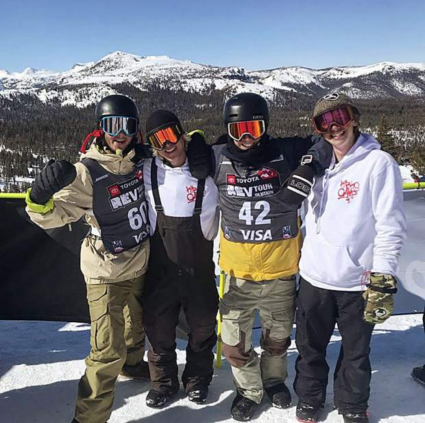Summit County local and snowboard coach Christopher Waker (second from left) poses for a photo at a Rev Tour event with his Kirk's Camp snowboarders Luke Winkelmann (far left), Will Healy (second from right) and Eli Mcdermott.