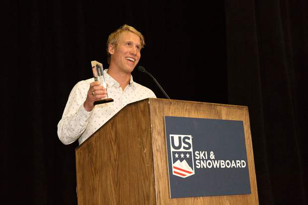 Summit County local Christopher Waker, left, gives a short speech while accepting his U.S. Ski & Snowboard Coach of the Year award at the 2019 U.S. Ski & Snowboard Congress Chairman's Awards Dinner last month in Park City, Utah.