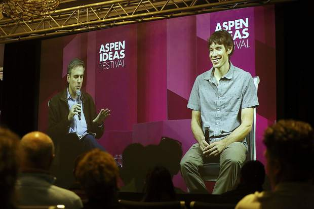 New York Times journalist Bret Stephens, left, chats with climber Alex Honnold during an Aspen Ideas Festival discussion on Monday, June 24, 2019, inside the St. Regis hotel in Aspen. (Photo by Austin Colbert/The Aspen Times)
