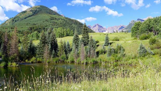 The location of the potential Maroon Creek Reservoir site, just below the confluence of East and West Maroon creeks. The reservoir would have flooded over 80 acres of land, including areas within the Maroon Bells Snowmass Wilderness.
