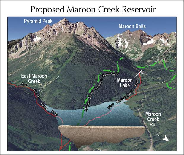 A graphic prepared by Wilderness Workshop showing how the potential Maroon Creek Reservoir would have fit into the upper Maroon Creek valley.
