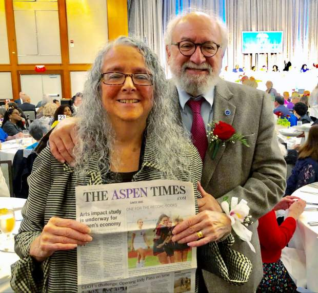 Aspen residents Betty and Howie Wallach were among those honored May 28 at the New York Hilton as 50-year members of the United Federation of Teachers. The couple brought along a copy of The Aspen Times, as well. Email your