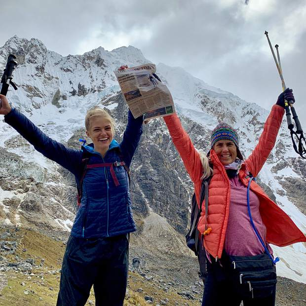 Readers Laurel and Mariah Hake recently posed with a copy of The Aspen Times on their five-day Salkantay Trek to Machu Pichu in the Peruvian Andes .