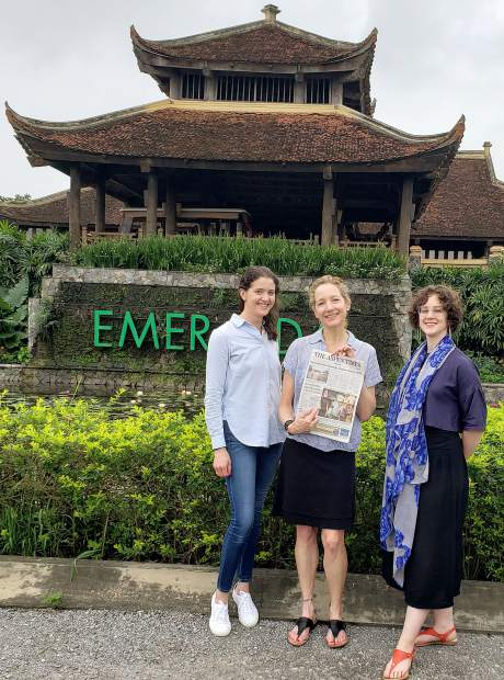 Tessa Caudle (Aspen), Tersia Ernst (Aspen), Rachel Green (Glenwood Springs) show off an Aspen Times while on a business trip in May to the Emerald Resort in, Ninh Binh, Vietnam.