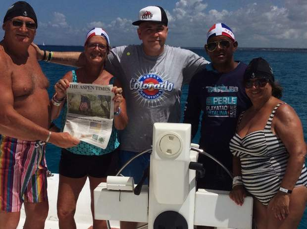 Readers Rick and Nancy Meyer traveled with Scott and Yazmin from Scotland to Samoa Island, Dominican Republic, and they stayed current on Aspen news with the Times.