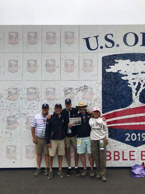 Snowmass Villagers Mark Stout, Bill Moriarty, Jeff Sivess, Irene and Ray Greiser attended the 2019 US Open at Pebble Beach, and brought along a copy of The Aspen Times. Email your